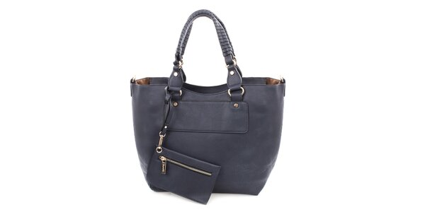 Dámska tmavomodrá kabelka s malým vreckom Bessie