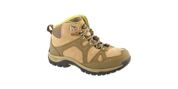 Dámske béžovo-zelené členkové topánky Crosby