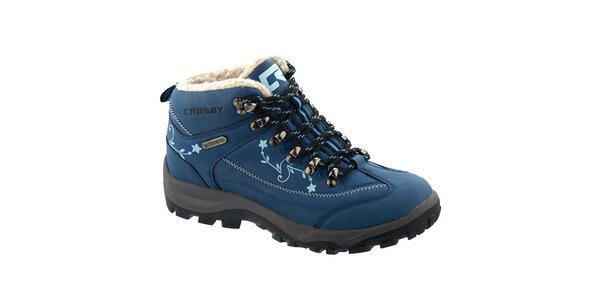 Dámske modré členkové topánky s potlačou Crosby
