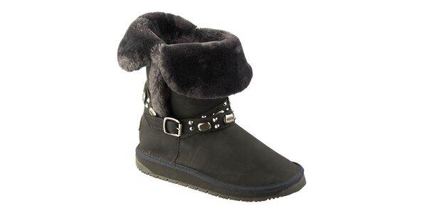 Dámske tmavo šedé topánky s kožúškom Keddo