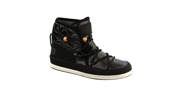 Dámske čierne topánky s kožúškom Keddo