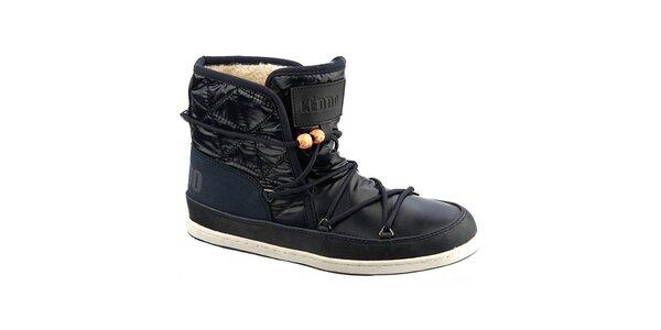 Dámske tmavo modré topánky s kožúškom Keddo