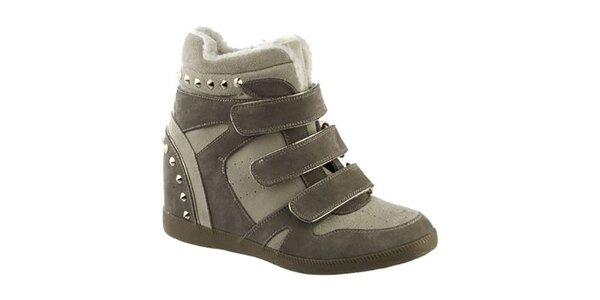 Dámske béžovo-šedé topánky s remienkami a cvočky Keddo