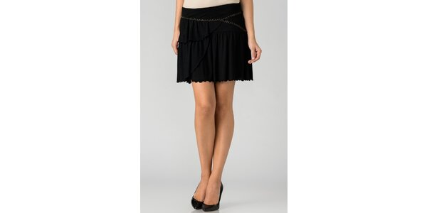 Dámska čierna mini sukňa By Zoé s volánmi