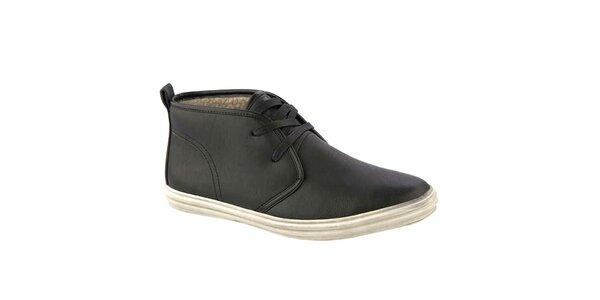 Pánske čierne členkové topánky s vlneným interiérom Crosby