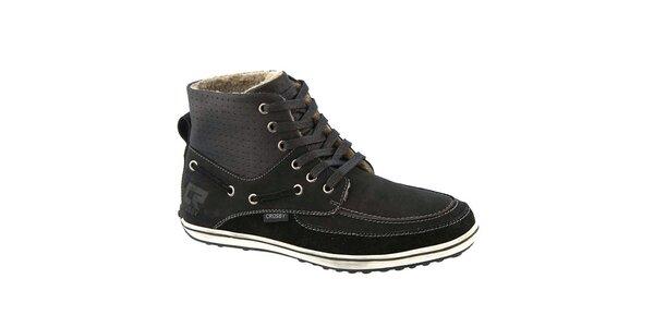 Pánske čierne členkové topánky so zateplením Crosby