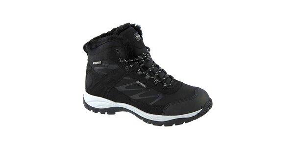 Pánske zimné členkové topánky v čiernom prevedení Crosby