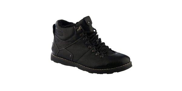 Pánske čierne šnurovacie topánky s kožúškom Keddo