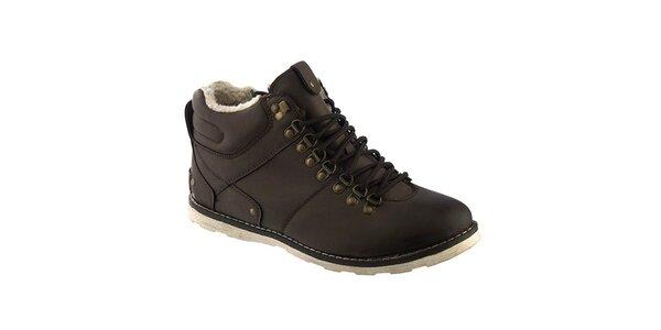 Pánske tmavo hnedé šnurovacie topánky s kožúškom Keddo