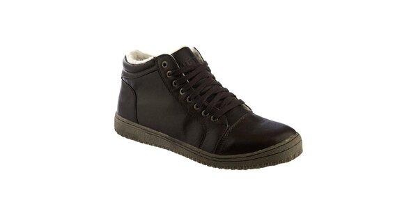 Pánske tmavo hnedé topánky s kožúškom Keddo
