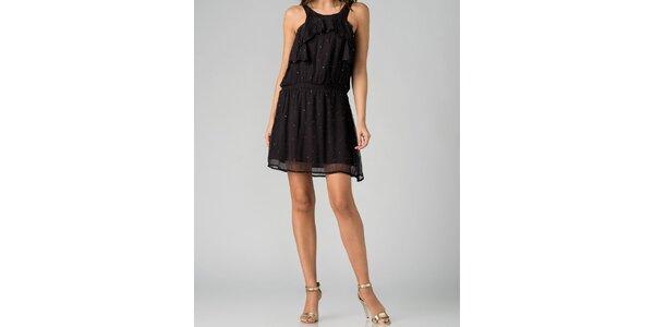 Hedvábné dámské čierne šaty By Zoé s kamienkami