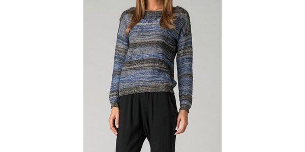 Dámsky modro-šedý pruhovaný sveter By Zoé