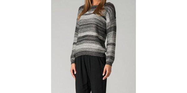 Dámsky šedý pruhovaný sveter By Zoé