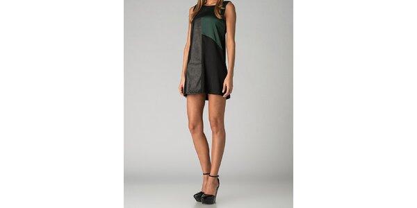 Dámske čierno-zelené mini šaty By Zoé