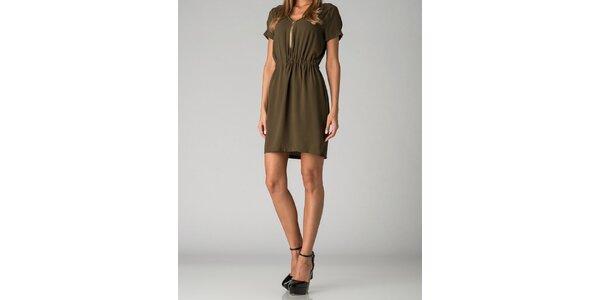 Dámske olivovo zelené šaty By Zoé so zipsom