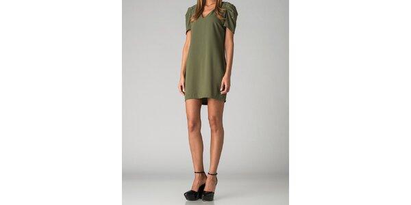 Dámske olivovo zelené šaty By Zoé s korálkami