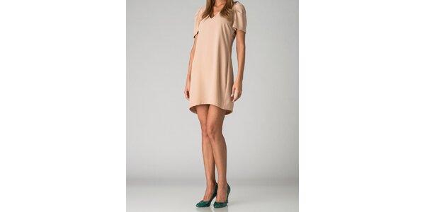 Dámske svetlo béžové šaty By Zoé s korálkami