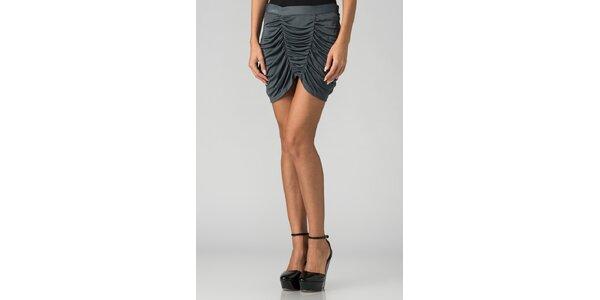 Dámska šedo strieborná mini sukňa By Zoé