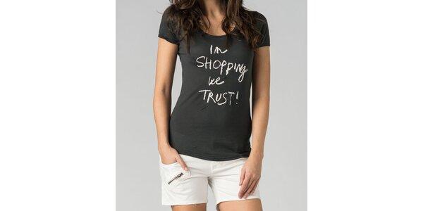 Dámske oceľovo šedé tričko By Zoé s bielou potlačou