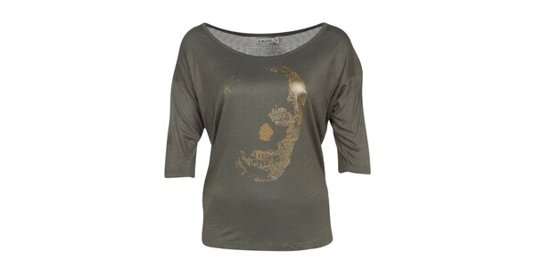 Dámske olivovo zelené tričko s potlačou Sublevel