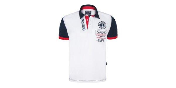 Pánske bielo-modro-červené polo tričko s výšivkou Giorgio Di Mare