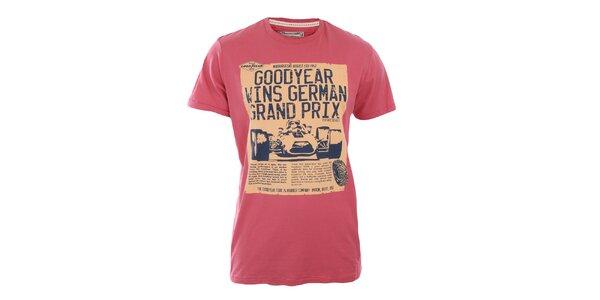Pánske červené tričko s potlačou Goodyear