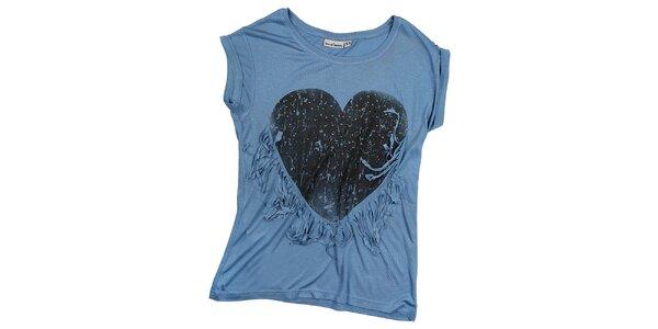 Dámske modré tričko so strapcami Fresh Made