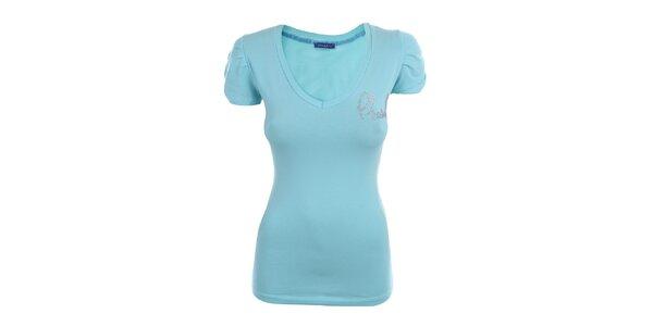 Dámske svetlo modré tričko s dekoráciou Phard