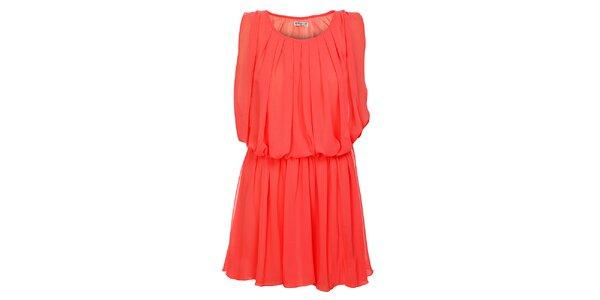 Dámske korálovo ružové naberané šaty Victoria Look