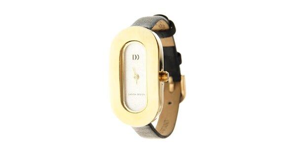 Dámske titanové hodinky Danish Design s čiernym koženým pásikom