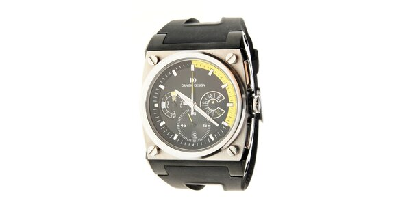 Pánske oceľové hodinky Danish Design s čiernym silikonovým pásikom