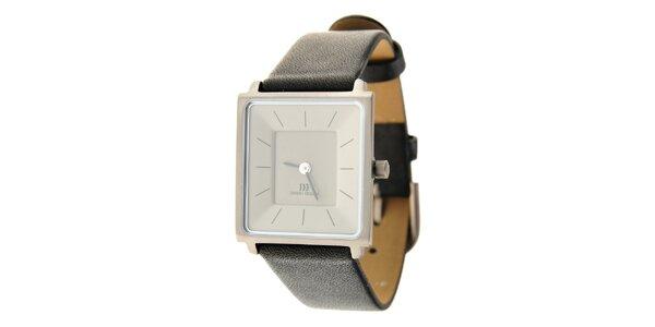 Dámske titanové hodinky Danish Design s čiernym koženým remienkom