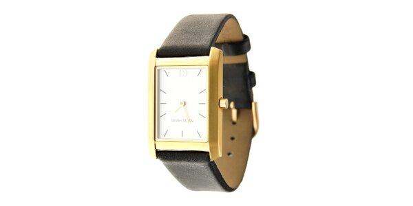Dámske zlaté titanové hodinky Danish Design s čiernym koženým pásikom