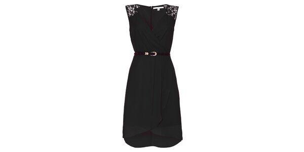 96134fe9bf5a Dámske čierne šaty s čipkovými ramenami Uttam Boutique