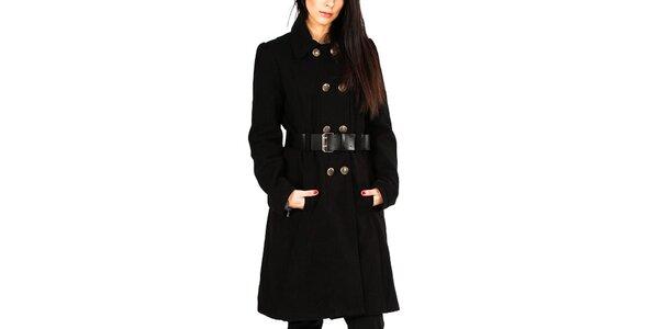 Dámsky čierny kabát s gombíkovým zapínaním Gémo