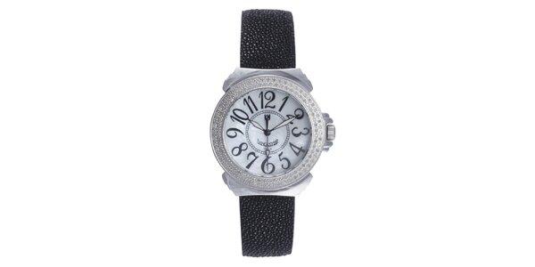 Dámske čierne analogové hodinky Lancaster s diamantmi