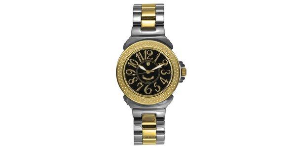 Dámske oceľové hodinky s diamantmi a tmavým ciferníkom Lancaster