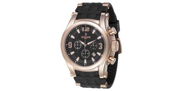 Pánske hodinky s chronografom a púzdrom vo farbe ružového zlata Lancaster