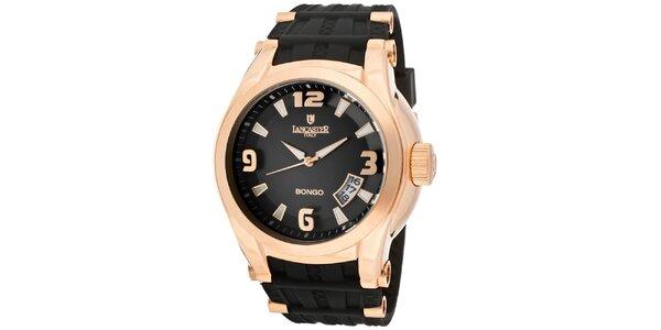 Pánske pozlátené hodinky Lancaster s čiernym remienkom