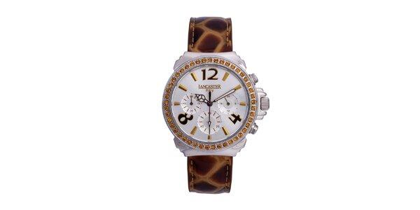 Dámske zlato-strieborné analógové hodinky so Swarowski elementmi Lancaster