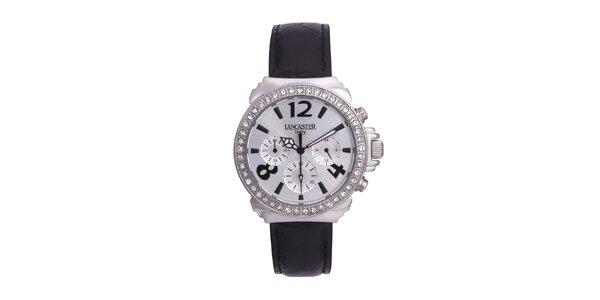Dámske strieborné analógové hodinky so Swarowski elementmi Lancaster