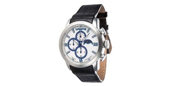 Pánske oceľové hodinky s čiernym remienkom a bielo-modrým ciferníkom Lancaster