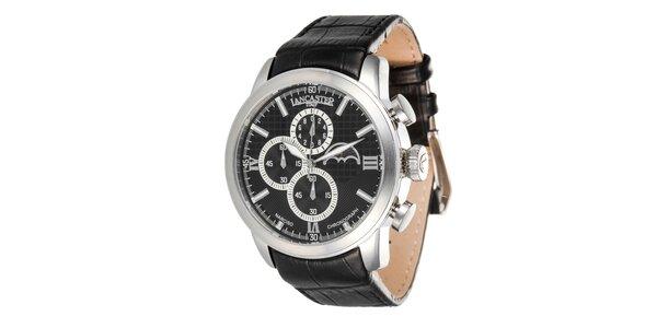 Pánske oceľové hodinky s čiernym remienkom a čiernym ciferníkom Lancaster