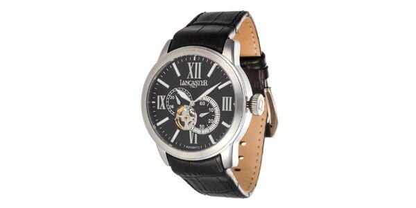 Pánske oceľové hodinky s čiernym ciferníkom Lancaster