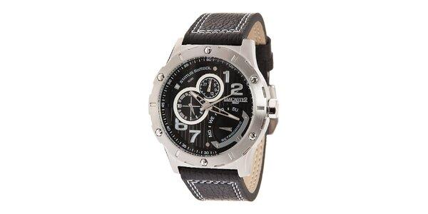 Pánske oceľové hodinky s čiernym ciferníkom a prešívaným remienkom Lancaster