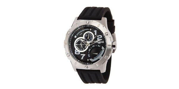 Pánske oceľové hodinky s čiernym ciferníkom a silikónovým remienkom Lancaster