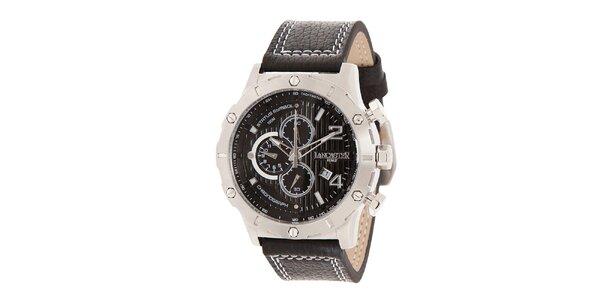 Pánske oceľové hodinky s tmavým ciferníkom a prešívaným remienkom Lancaster
