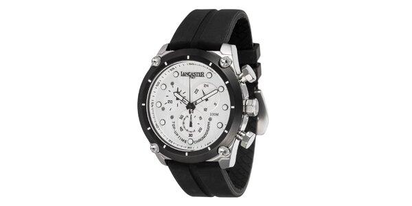 Pánske oceľové hodinky s bielym ciferníkom a silikónovým remienkom Lancaster
