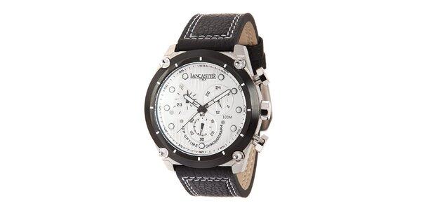 Pánske oceľové hodinky s bielym ciferníkom a koženým prešívaným remienkom…