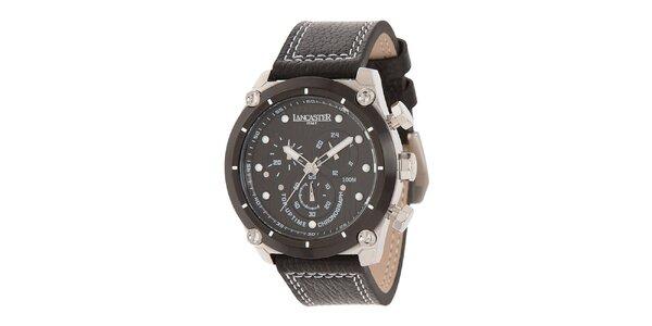 Pánske oceľové hodinky s čiernym ciferníkom a koženým prešívaným remienkom…